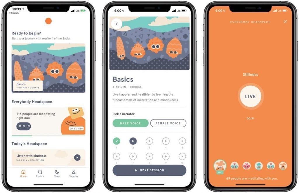 Meditation lessons with the Headspace App