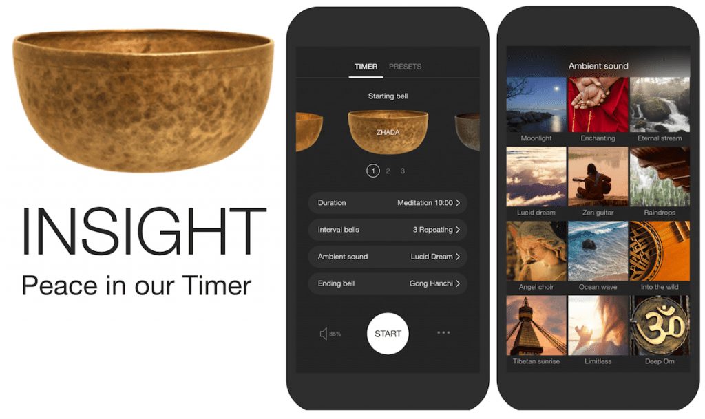 Guided meditations  with the Insight Timer App